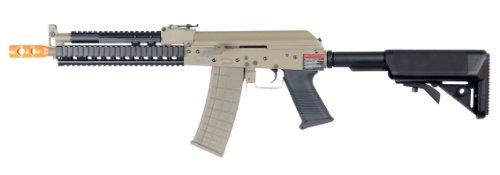 Lancer Tactical Lt-10 Beta Project Ak-47 Ris Electric Airsoft Gun Polymer Body Metal Gearbox Fps-380 W/ High Capacity Magazine (Tan)