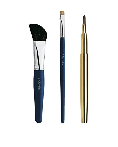 3 Claveles Set De Maquillaje: Pincel Oblicuo, Pincel Carrado Sombras Y Pincel Labios Retráctil