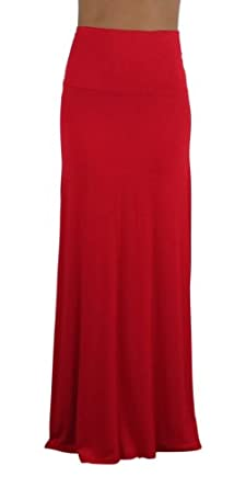 Free to Live Women's Foldover High Waisted Maxi Skirt (Small, Red)