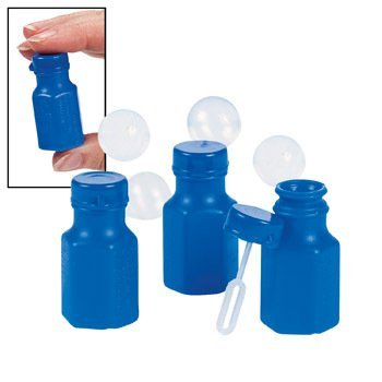 Mini Hexagon Blue Bubble Bottles - Novelty Toys & Bubbles