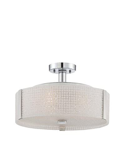 Lite Source 3-Light Patterned Semi-Flush Mount, Chrome/Frosted