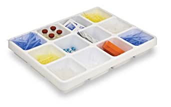 "TrippNT 50055 White Polystyrene Plastic Big Drawer Organizer, 12 Compartments, 16.75"" Width x 2.38"" Height x 12.9"" Depth"