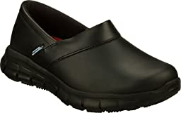 Skechers for Work Women\'s Relaxed Fit Slip Resistant Work Shoe,Black,8 M US