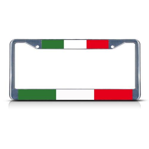 ITALIAN FLAG ITALIA Chrome Heavy Duty Metal License Plate Frame (Italia License Plate Frame compare prices)