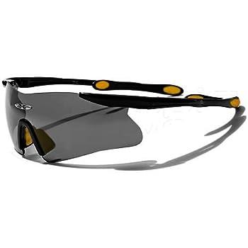 X-Loop Lunettes de Soleil - Sport - Cyclisme - Ski - Conduite - Motard / Mod. 3555 Noir Jaune / Taille Unique Adulte / Protection 100% UV400