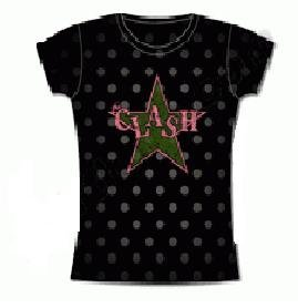 Clash 'Star Dots' Women's / Juniors black lightweight t-shirt (Large-Juniors)