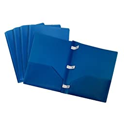 Portfolio Report Covers with Plastic Prongs (Set of 5) Color: Blue