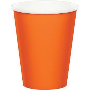 Party Color Paper Cups Orange 9oz 24 Count - 1