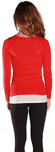 Sexy Cardigan Sweater Knit V Neck Long Sleeves in Multiple Colors (Large, Red)