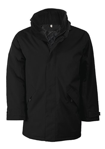 Men's 2 Ouside Zipped Pockets Lined Collar Parka Jacket =Red/Black Size=X X X Large