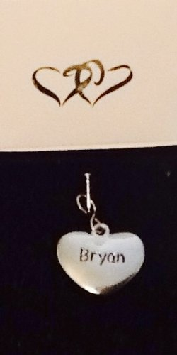 Bryan ~ Silver-Tone Metal Personalized Name Charm! Heart Shaped! Top Quality ~ Name On Both Sides!
