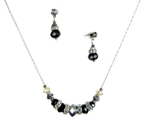 Silver Tone Jet Black & Silver Glass Bead Rondelle Necklace & Drop Earrings Set
