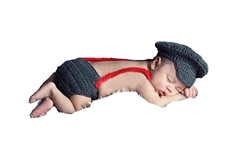 CX-Queen® Newborn Baby Knit Photo Props Hat Bow Overalls Pilot