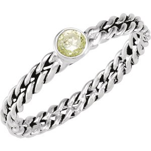 Sterling Silver Stackable Peridot Colored CZ Ring: Size 8