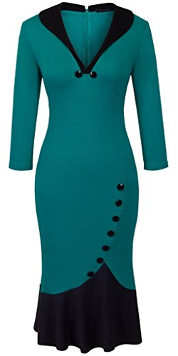 Homeyee Women's V neck Ball Fishtail Pencil Dress UB27(18