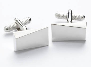 PLAIN SILVER SQUARE CUFFLINKS IN DELUXE GIFT BOX