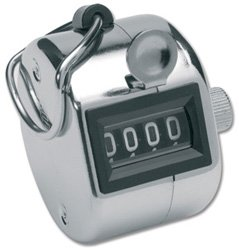 Tally Counter Hand Held Clicker 4 Digit Chrome