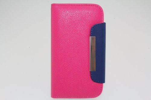 JAPAEMO Galaxy S4 (SC-04E) レザー調 フリップ型 カードケース付き ストラップホール付き マグネットタイプ 全4色ドコモ ギャラクシーS4 ケース ヴィヴィットピンク [JE00985]
