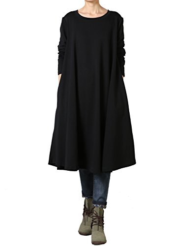 Mordenmiss Women's New Fall Round Neck Large Hem Pullover Dress (Black)