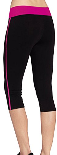 iLoveSIA® Women's Tight Capri Workout Legging US Size M Black+Rose Red