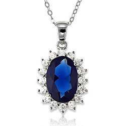 Sale alerts for Beaux Bijoux Sterling Silver Oval Blue Sapphire and CZ Princess Diana/Kate Middleton Pendant with Chain - Covvet