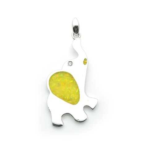 Sterling Silver Pendant Fancy Art Elephant Decorated With Ground Opal For Children, 0.75