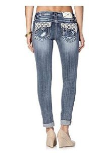 Miss Me Jeans Daisy Sparkle Open Pocket with Lace Cuffed Skinny Jeans (28)