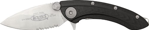 Micro Tech Knives 16711 Bead Blast Finish Whaleshark Flipper Linerlock Knife With Black Lightweight G-10 Handles