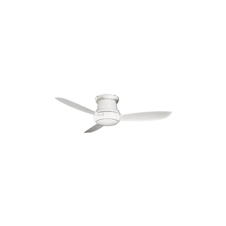 """Concept II Series 52"""" Wet Location White Outdoor Hugger Ceiling Fan with Light Kit F574 WH"""