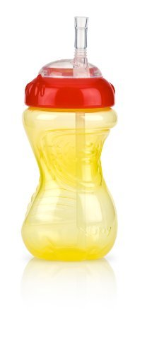 Nuby No-Spill Flex Straw Cup, 10 Ounce, Yellow