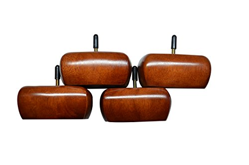New Square Bun Style Furniture Feet, Cherry Finish (Set of 4) (Bun Feet Wood compare prices)