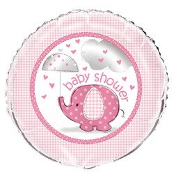 Umbrella Elephant Girl Baby Shower Foil Mylar Balloon (1ct)