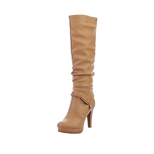 voguezone009-womens-high-top-pull-on-soft-material-high-heels-round-closed-toe-boots-apricot-38