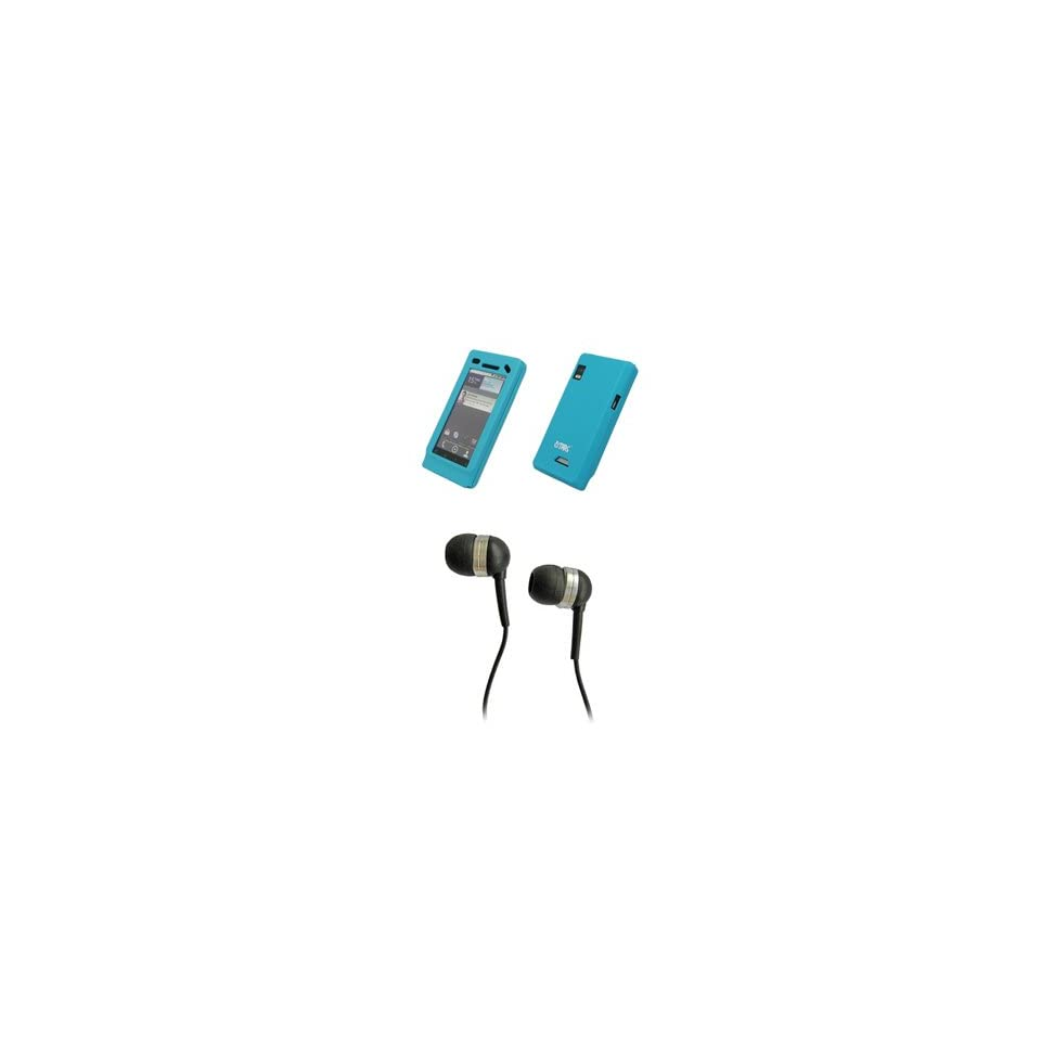 EMPIRE Light Blue Silicone Skin Cover Case + Stereo Hands Free 3.5mm Headset Headphones for Motorola Droid 2 A955
