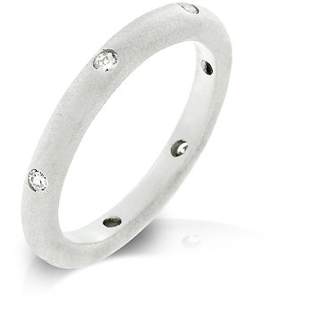 White Gold Rhodium Bonded Wedding Eternity Band with Bezel Set Clear CZ in Silvertone