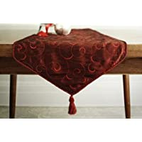 Classic Red Table Runner - Embroidered Taffeta