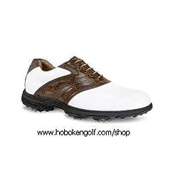 Buy Etonic Lite-Tech Golf Shoes White Brwn Dk Brwn Size 9M by Etonic