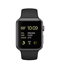 Apple 42 MMWatch Stainless Steel Case - Space Grey Aluminum Case/Black Band