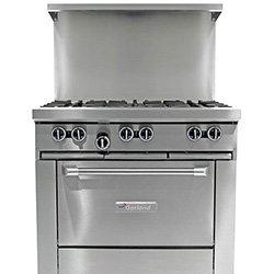 """Garland G604G36Rr Commercial Gas Range - Restaurant Series 60""""W, 4 Burners, 2 Standard Ovens, 36"""" Griddle"""