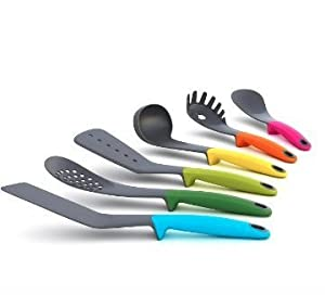 Eladush Non stick 6 piece multi-color kitchen utensils set with built-in stand for cleanliness. Includes Soup Ladle, Skimmer, Slotted Spoon, Slotted Turner, Spoon & Pasta Fork