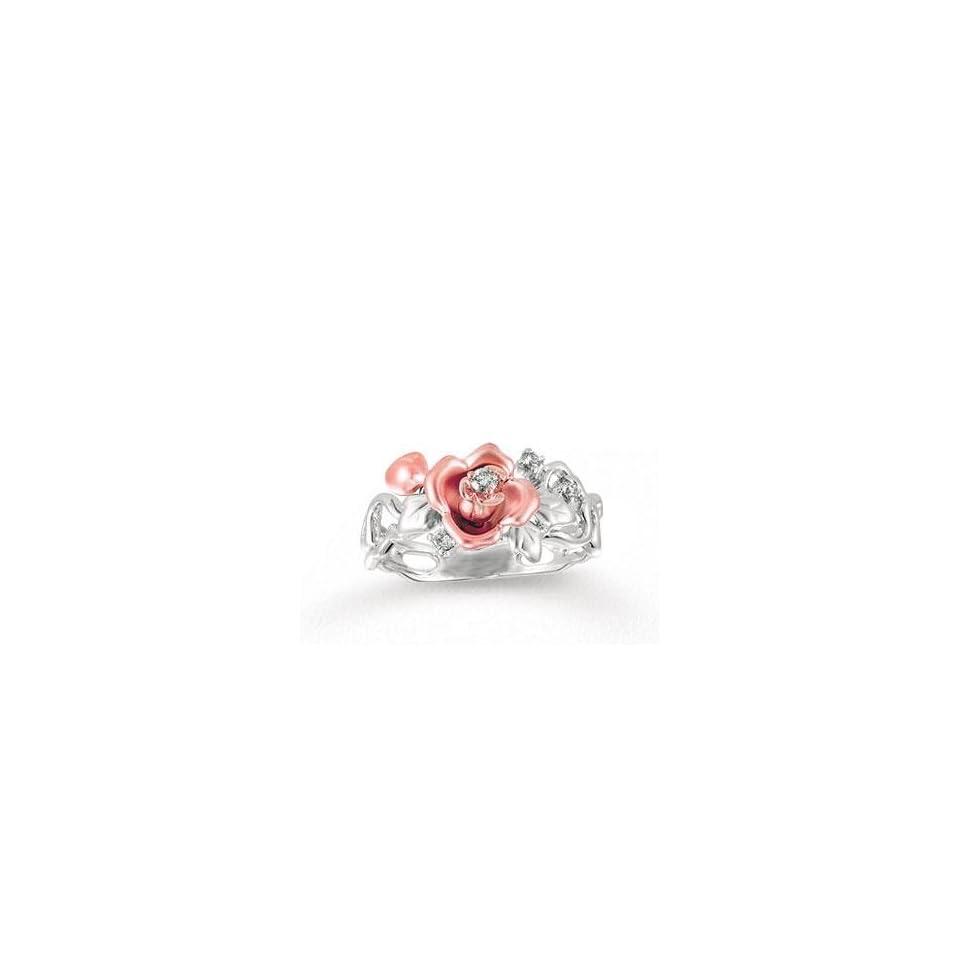 14k Two Tone Gold Diamond Flower Ring