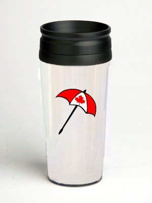 16 oz. Double Wall Insulated Tumbler with canada flag umbrella - Paper Insert