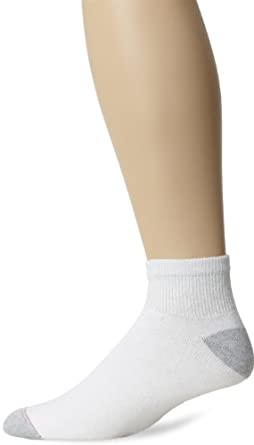 Hanes Men's 10 Pack Ankle Sock, White, 10-13 (Shoe Size 6-12)