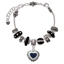 Blue Concho Heart Black Juliet Beaded Bracelet [Jewelry] Delight