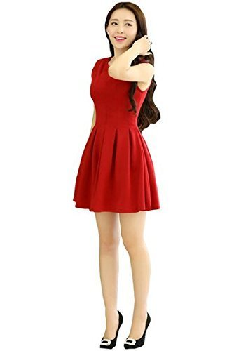 Rudraksh Fashion Womens Cotton Western Frocks(Red Frocks-7)