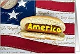 Memorial Day, hot dog-patriotic-flag-American-baseball Card