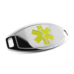 Pre-Engraved - BREAST CANCER Medical Alert ID Tag, Attachable to Bracelet, Yellow Symbol from My Identity Doctor