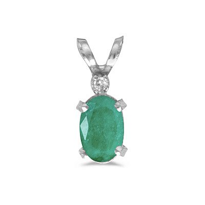 14k White Gold Oval Emerald And Diamond Filagree Pendant With 18 Inch Rope Chain