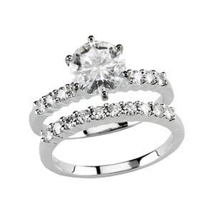 Polished 14k White-gold 1 1/4 CT Round Moissanite Engagement & Wedding Band Rings