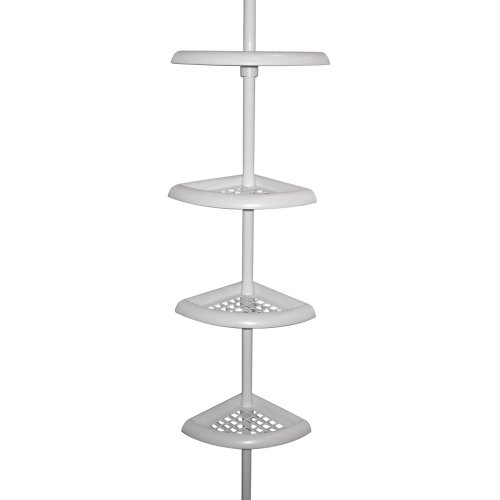 Zenna Home 2104W, Bathtub and Shower Pole Caddy, White